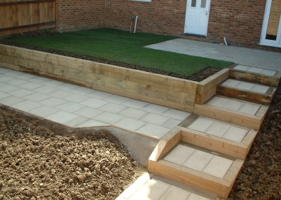 Hard Landscaping now in place, with planting to come later.
