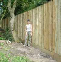 Custom built close board fence construction