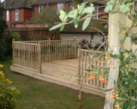 Gardens designed with decking.