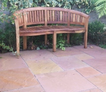Indian sandstone patio built from the warm sahara colour stone.