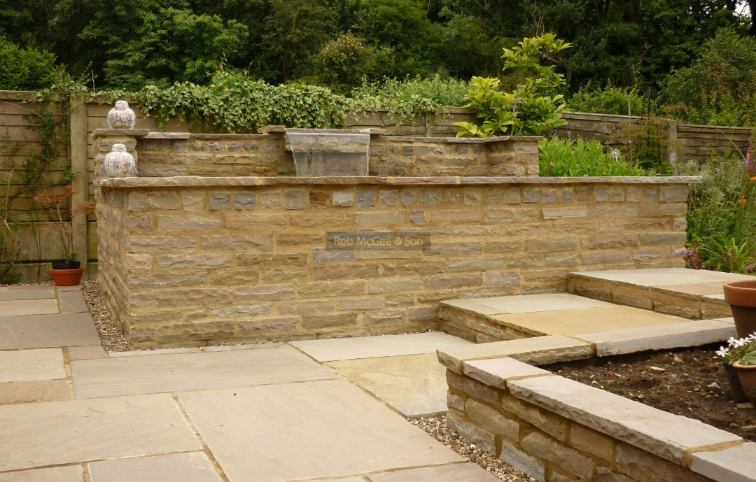 Indian Sandstone Wall, Patio And Steps.